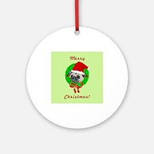 Merry Christmas Pug Ornament (Round)