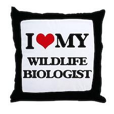 I love my Wildlife Biologist Throw Pillow