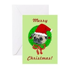 Merry Christmas Pug Greeting Cards