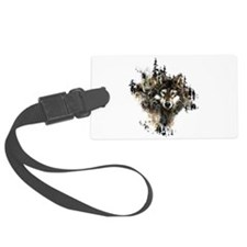 Watercolor Wolf Mountain Art Luggage Tag