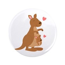 "Cute Kangaroo and Baby Joey 3.5"" Button"