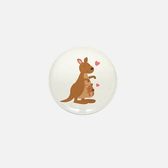 Cute Kangaroo and Baby Joey Mini Button