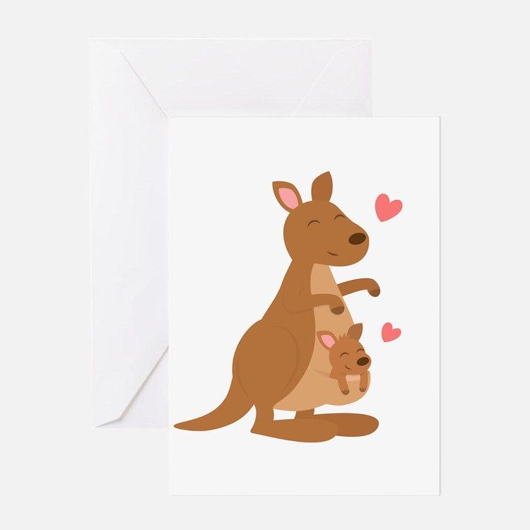 Cute Kangaroo and Baby Joey Greeting Cards