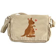 Cute Kangaroo and Baby Joey Messenger Bag