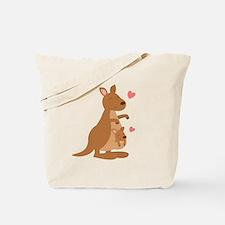Cute Kangaroo and Baby Joey Tote Bag