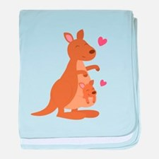 Cute Kangaroo and Baby Joey baby blanket