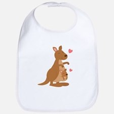 Cute Kangaroo and Baby Joey Bib