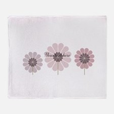 Cute Pink Flowers Throw Blanket