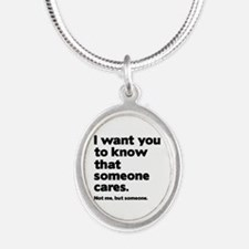 Someone Cares Silver Oval Necklace