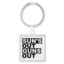 Sun's Out Guns Out Square Keychain