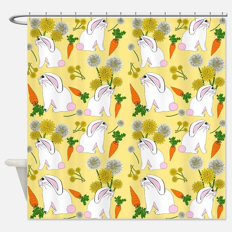 Bunnies and Rabbit Food Shower Curtain