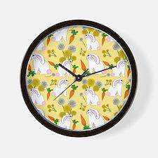 Bunnies and Rabbit Food Wall Clock