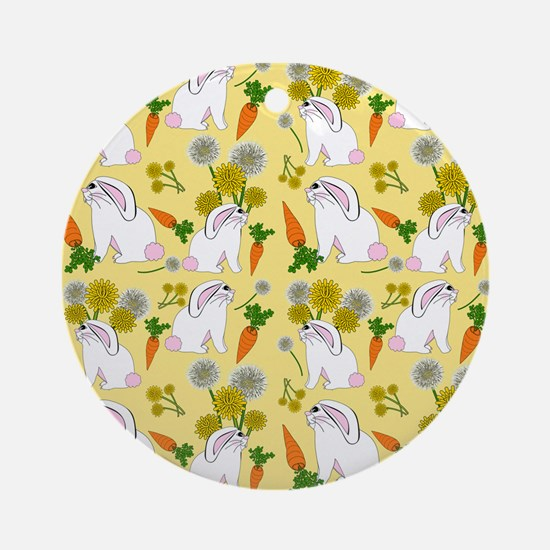 Bunnies and Rabbit Food Ornament (Round)