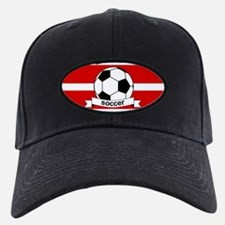 Soccer Ball Banner red white Baseball Hat