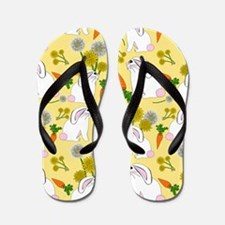 Bunnies and Rabbit Food on Yellow Flip Flops