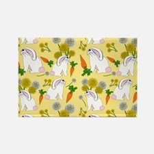 Bunnies and Rabbit Food on Yellow Magnets