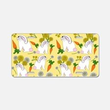 Bunnies and Rabbit Food on Aluminum License Plate