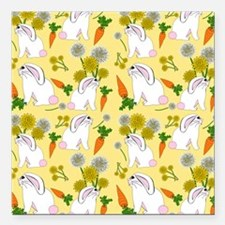 "Bunnies and Rabbit Food Square Car Magnet 3"" x 3"""