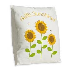 Hello Sunshine! Burlap Throw Pillow