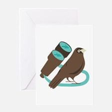 Binoculars Bird Greeting Cards