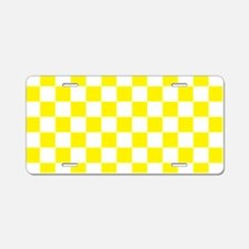 YELLOW AND WHITE Checkered Pattern Aluminum Licens