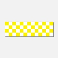 YELLOW AND WHITE Checkered Pattern Car Magnet 10 x