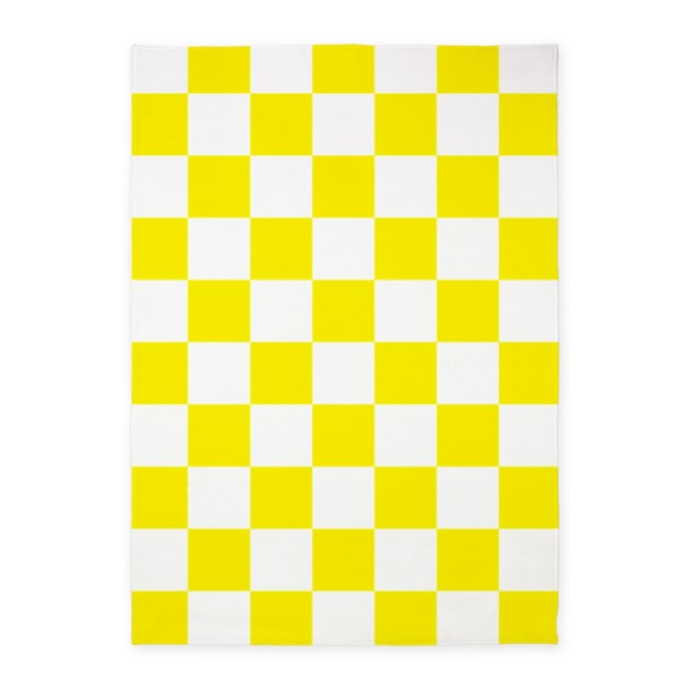 Yellow Checkered Rug: YELLOW AND WHITE Checkered Pattern 5'x7'Area Rug By