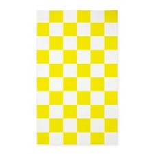 YELLOW AND WHITE Checkered Pattern 3'x5' Area Rug