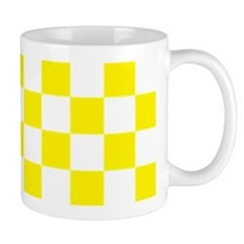 YELLOW AND WHITE Checkered Pattern Mugs