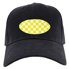 YELLOW AND WHITE Checkered Pattern Baseball Hat