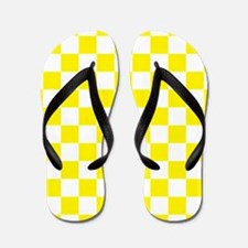 YELLOW AND WHITE Checkered Pattern Flip Flops