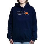 Orange Christmas Tractor Women's Hooded Sweatshirt
