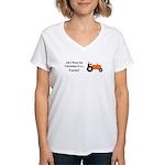 Orange Christmas Tractor Women's V-Neck T-Shirt