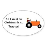 Orange Christmas Tractor Sticker (Oval 10 pk)