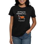 Orange Christmas Tractor Women's Dark T-Shirt