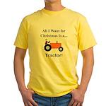 Orange Christmas Tractor Yellow T-Shirt