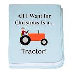 Orange Christmas Tractor baby blanket