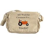 Orange Christmas Tractor Messenger Bag