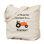 Orange Christmas Tractor Tote Bag