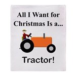 Orange Christmas Tractor Throw Blanket