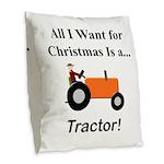 Orange Christmas Tractor Burlap Throw Pillow