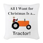 Orange Christmas Tractor Woven Throw Pillow