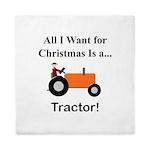Orange Christmas Tractor Queen Duvet