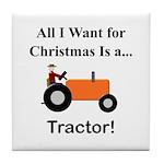 Orange Christmas Tractor Tile Coaster
