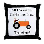 Orange Christmas Tractor Throw Pillow