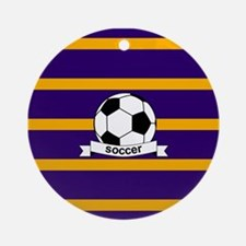 Soccer Ball Banner purple gold Ornament (Round)