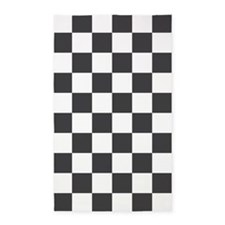 GRAY AND WHITE Checkered Pattern 3'x5' Area Rug