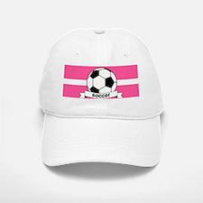 Soccer Ball Banner pink white Baseball Baseball Cap