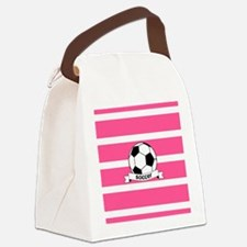 Soccer Ball Banner pink white Canvas Lunch Bag