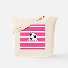 Soccer Ball Banner pink white Tote Bag